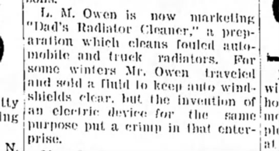August 1934 - Lewie Owen markets new automobile product - boys living with him now -