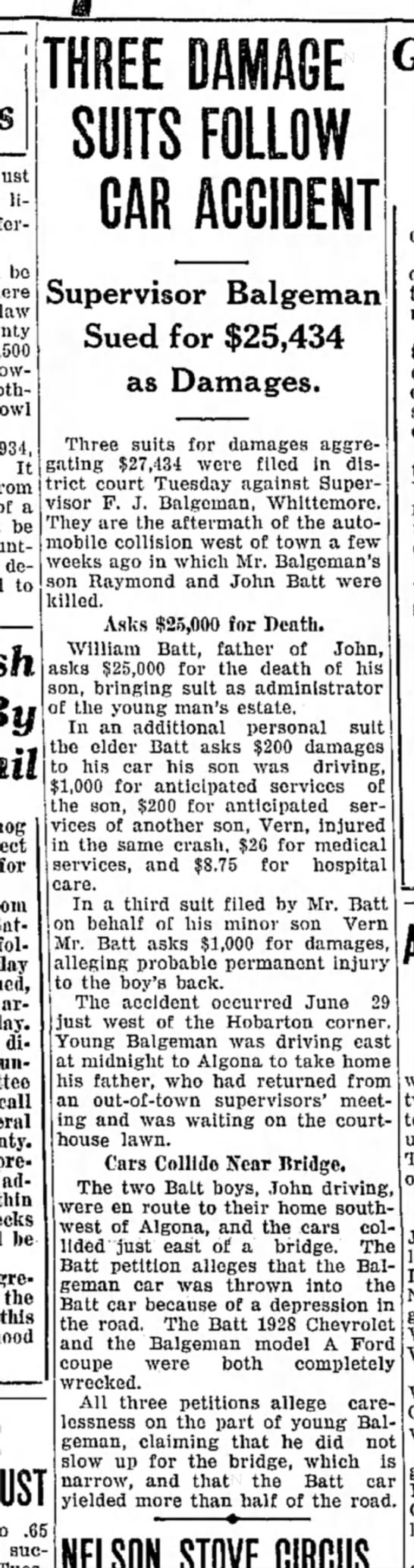 supervisor balgeman sued for damages in car accident - be oth- 1934, It from a be demand to for follow...