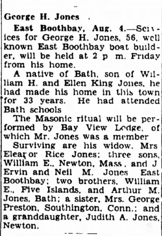 George H. Jones Obit - East Boothbay -