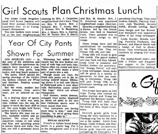 Beverly Zubik -- Girl Scouts Plan Christmas Lunch -