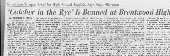 why was catcher in the rye banned