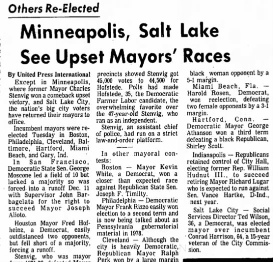 Teddy Wilson (?) elected Mayor of SLC?! - Others Re-Elected Minneapolis, Salt Lake See...