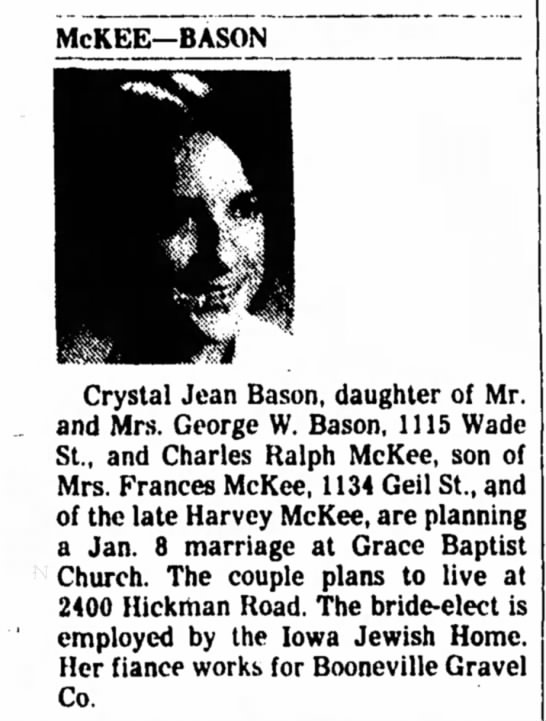 - McKEE—BASON Crystal Jean Bason, daughter of Mr....