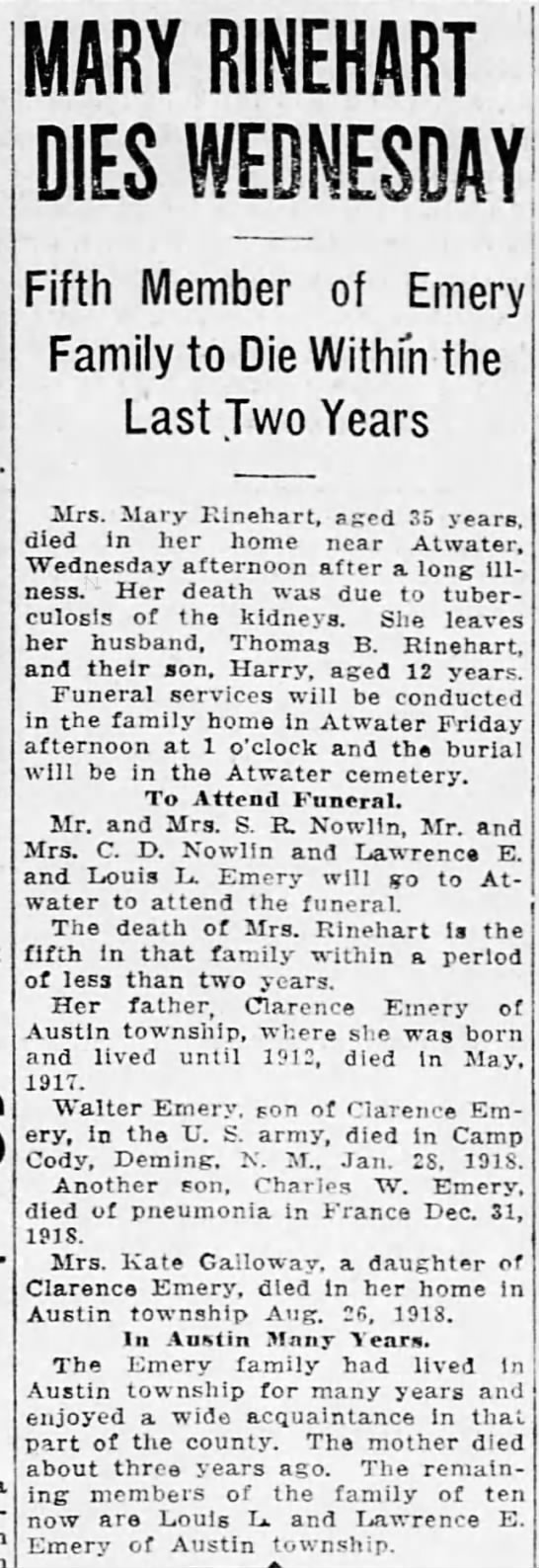 Obituary: Mary Rinehart nee Emery -