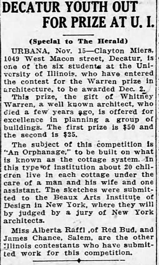 Decatur Youth Out for Prize at U.I., The Decatur Herald (Decatur, Illinois), 16 November 1924, p 3 -