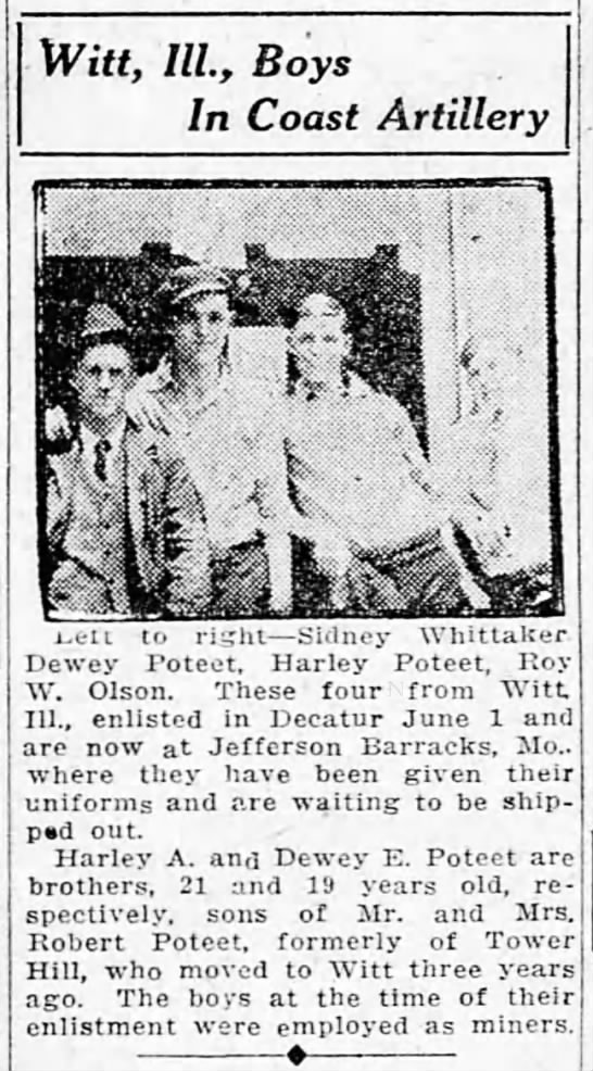 Dewey & Harley Poteet enlistment - The Decatur Herald, 1918-06-09, Sunday (page 15) -