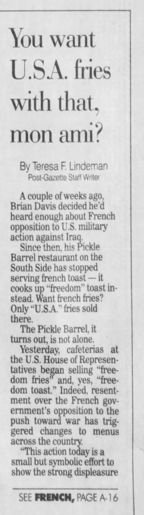 """Freedom toast,"" for french toast (2003). -"