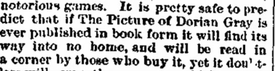 Prediction of how well the Picture of Dorian Gray would be received in book form, from 1890. -