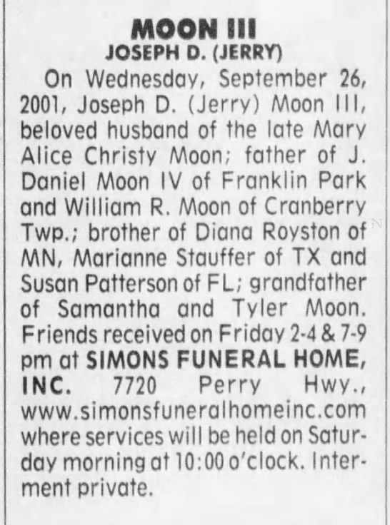 Newspaper Obituary - Joseph D (Jerry) Moon III -