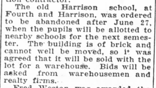 Old Harrison School was closed - June 09, 1925 -