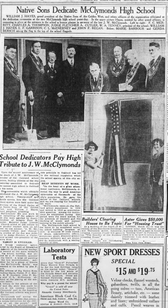 Native Sons Dedicate McClymonds High - March 10, 1924 -