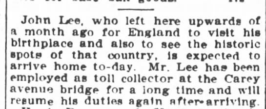 1906 John Lee visits England -