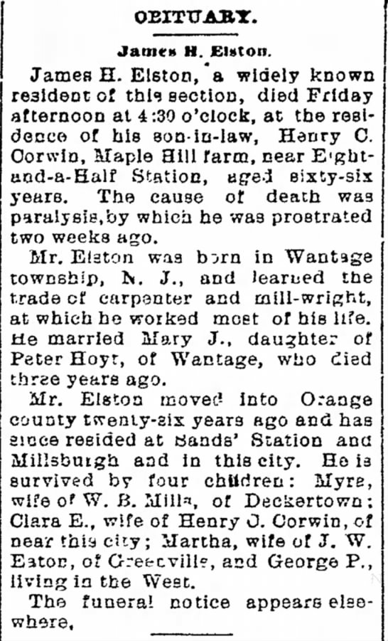 James H Elston November 30, 1895 -