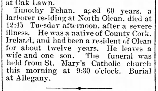 """Fehan Timothy death notice Olean Democrat 7-17-1890 - expected not rd, rd, -sit nts. Lumber N""""v. .ved..."""