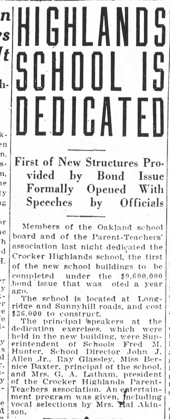 Crocker Highlands is Dedicated Sep 25, 1925 -