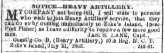 Company on Zeke's Island July 1863 -