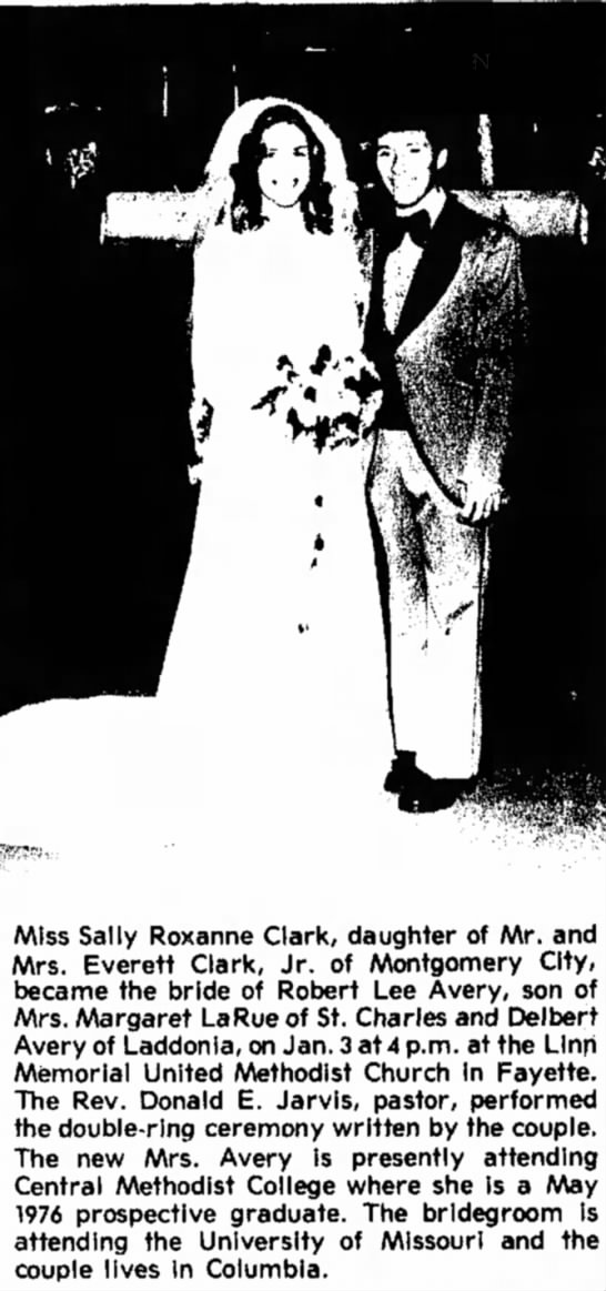 Miss Sally Roxanne Clark & Robert Lee Avery Wedding Announcement -