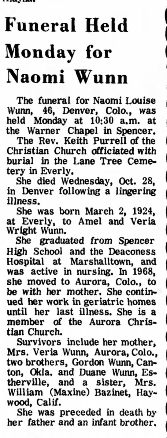 Obituary Naomi Wunn, 2 Nov 1970 -