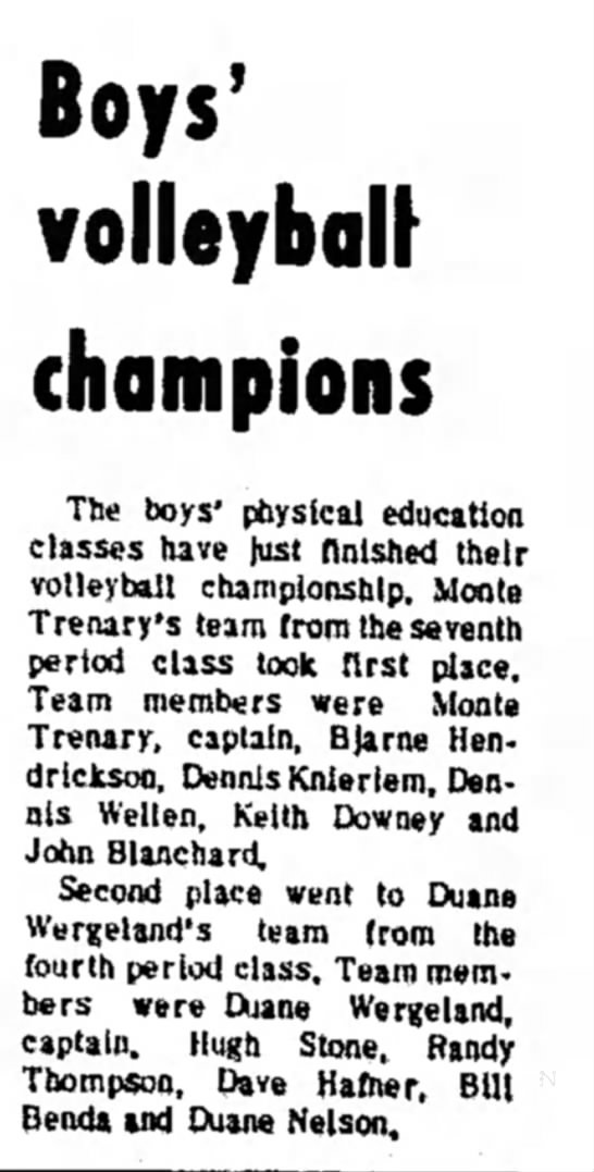 February 7, 1970 Volleyball Sophomore Year -