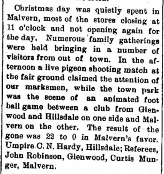 John Robinson of Glenwood refereed Christmas day football game in Malvern. -