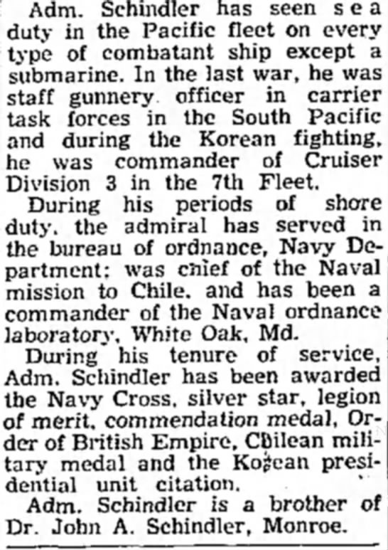 Part 2 - Adm. Schindler has seen sea duty in the Pacific...