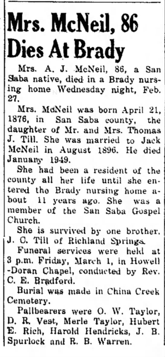 The San Saba News and Star 4 Mar 1963 Mrs McNeil 86 Dies at Brady -