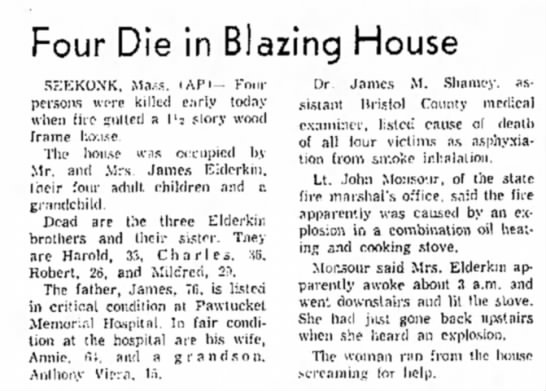 Elderkin Fire- North Adams Transcript, Saturday, Oct. 13, 1962