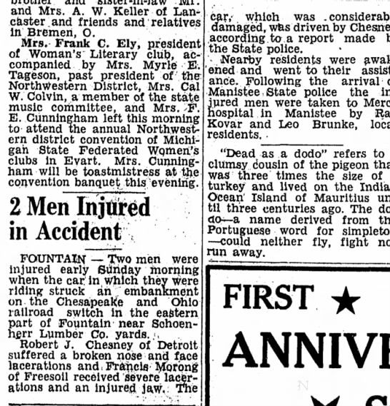 robert j chesney injured in auto accident page 3 the ludington daily news october 5 1949 -