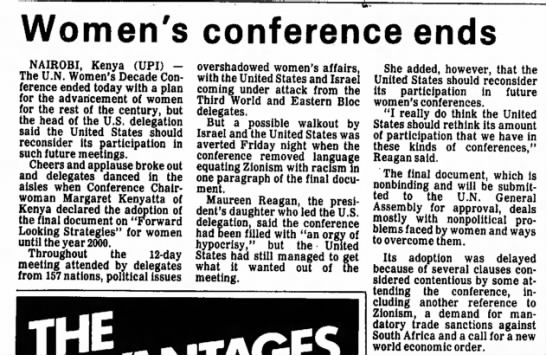 Women's conference ends. The Ukiah Daily Journal (Ukiah, California) 28 July 1985, p 8 -