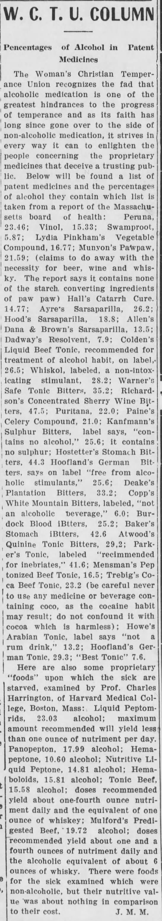 Percentages of Alcohol - Deadwood Pioneer-Times (Deadwood, SD) - 16 Nov 1907 -