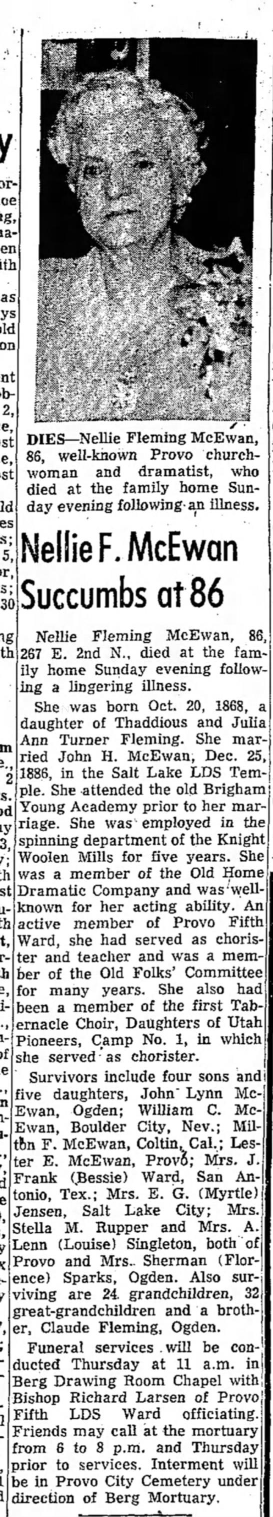 Pat's grandmother Nellie Fleming McEwan obit. - as 2, 5, 30 2 DIES—Nellie Fleming McEwan, 86,...