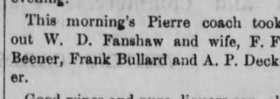 F F Beener Deadwood, SD 1881 -