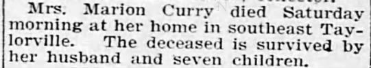 MRS.MARION CURRY DIES FEB 24 1903 -