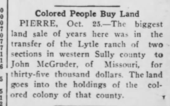 John Magruder Buys Land for South Dakota Colored Colony -