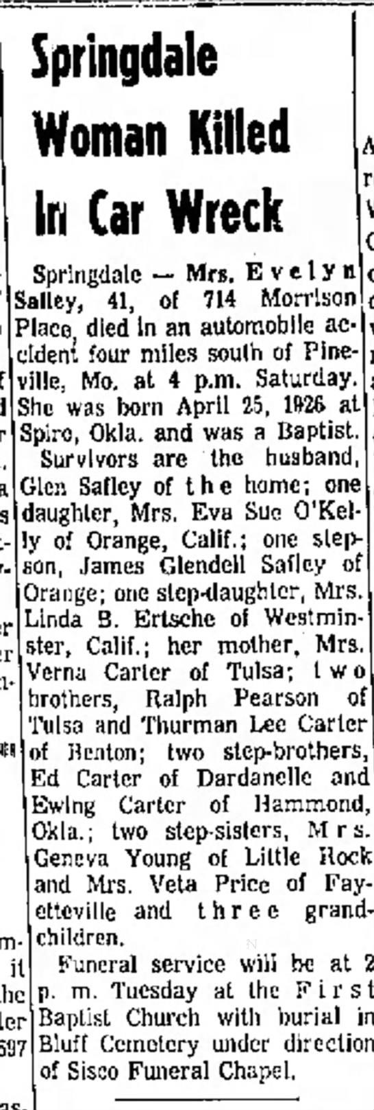 Safley, Evelyn Northwest AR Times, Fayettville 12-4-1967 -