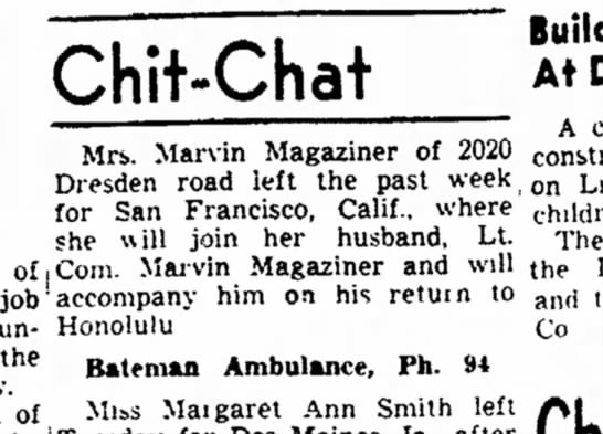 Mrs(Millie) and Marvin Magaziner move to Honolulu HI 05221946 -