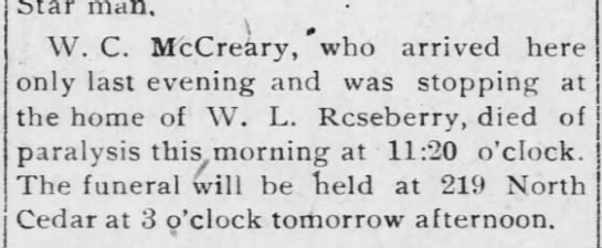W C McCreery Death Notice -
