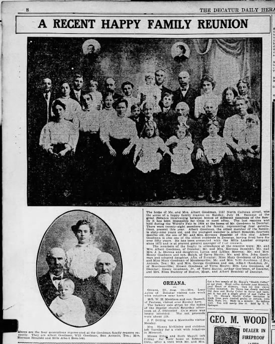 Goodman Family Reunion 1907 - 8 THE DECATUR DAILY HERALD A RECENT HAPPY...