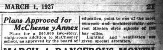 Plans Approved for McChesney Annex - Glenview Mar 01, 1927 -