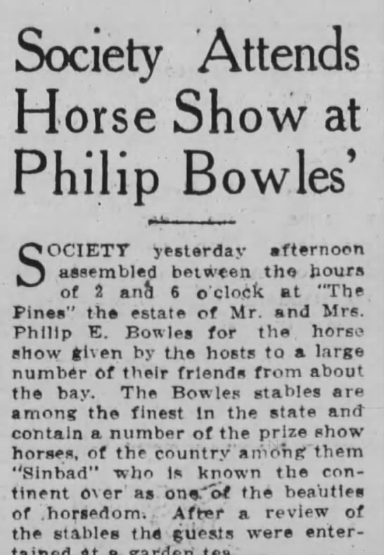 Society Attends Horse Show at Philip Bowles' -