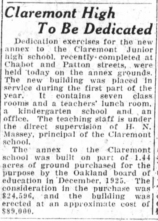 Claremont Annex Opens - Chabot School - Dedicated Apr 21, 1927 -