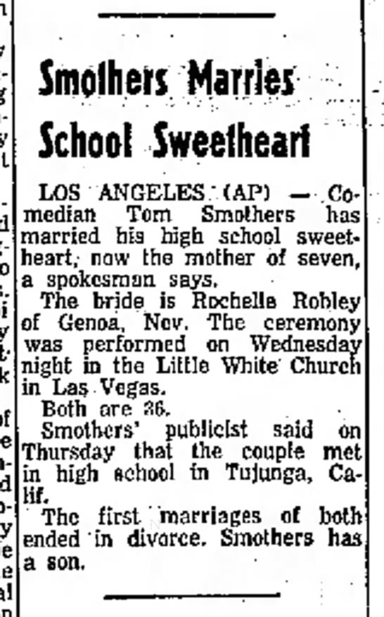 Rochelle Robley-Tom Smothers marriage-Northwest Arkansas Times, Fayetteville-p.15-19 July 1974 -