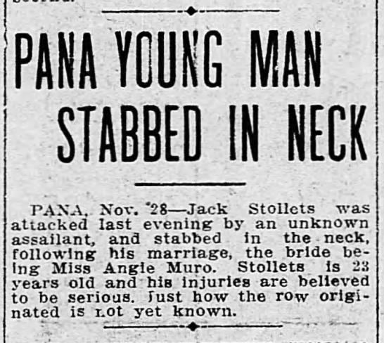 Decatur Herald 29 Nov 1912 page 15 Jack Stalets stabbed in neck -