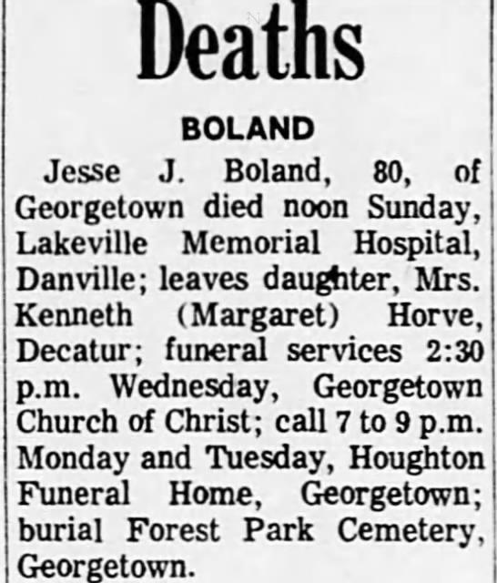 Jessie Boland death notice in Decatur newspaper. 4.12.1971 -