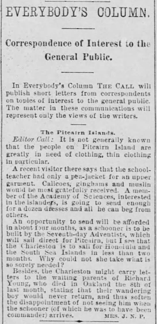 Call for clothing for Pitcairn, 1890 -