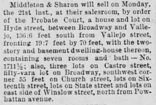 Winslow (Franconia) and Powhattan lots -
