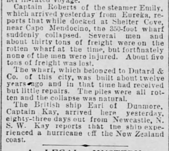 - Captain Roberts of the steamer Emily, which...