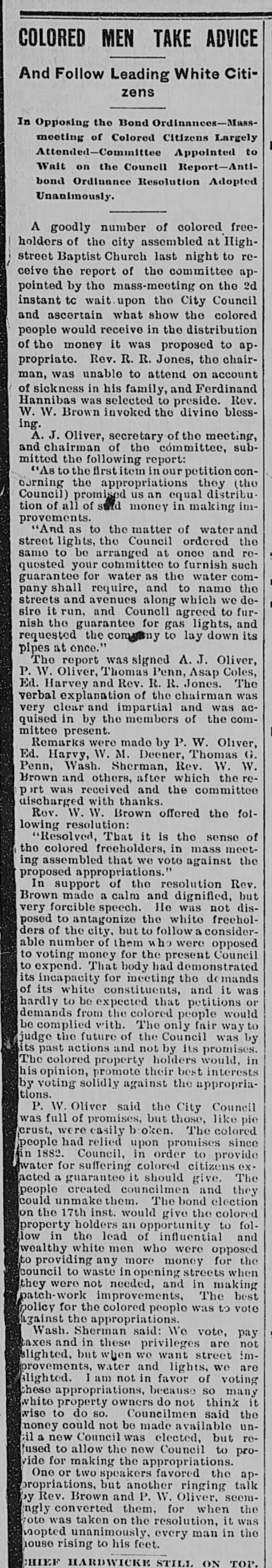 Patrick Oliver on bond issue, why against bond resolution, 1891 -