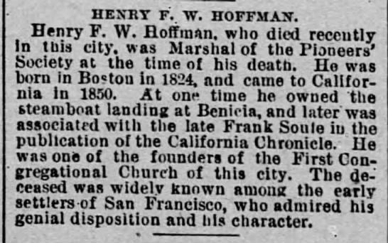 Henry F. W. Hoffman. The San Francisco Call (San Francisco, California) 29 December 1890, p 8 -