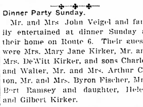 Dinner party with Kirkers, Ramseys, Fischers 1917 -
